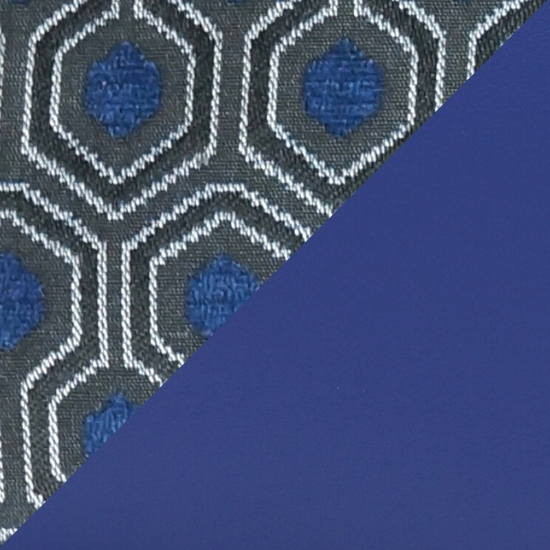 Bi-material Jacquard and Sapphire Blue Smooth Leather